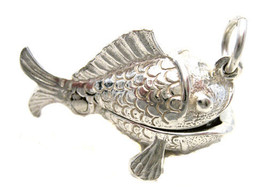 Sterling 925 Solid Silver British Charm Opening Fish to Fisherman + Split Ring - $34.35