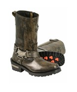 LADIES DISTRESSED BROWN  11 INCH CLASSIC HARNESS SQUARE TOE BOOT. MBL9361 - $129.99