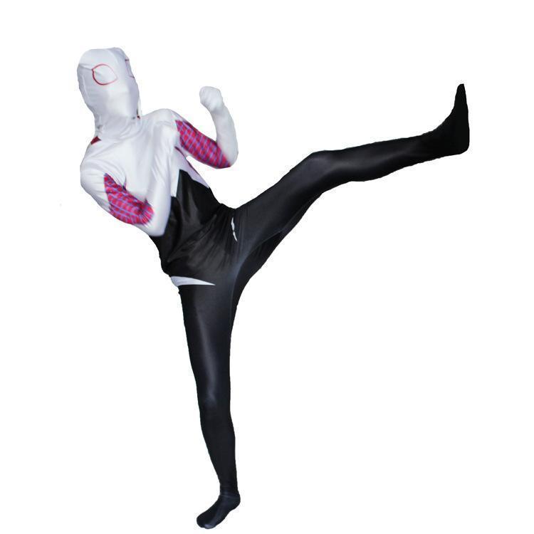 Spider Woman Gwen Stacy Spandex 3D Cosplay Halloween Spiderman Costume Bodysuit
