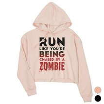 365 Printing Chased By Zombie Womens Crop Hoodie Scary Truth Halloween G... - $27.99