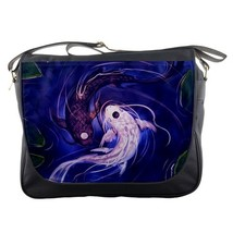 Messenger Bag Yin Yang Symbol Chinese Philosophy In White And Black Fish Design - $30.00