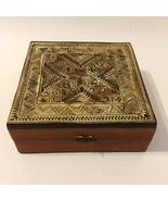 Turkish Carved Inlay Wood Trinket Box Desk Jewelry Cigar Vintage Lined H... - $65.00