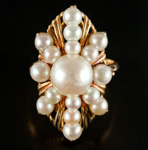 Vintage 1960's 18k Yellow Gold Round Cultured Pearl Cocktail Ring 6.2g S... - $900.00
