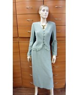 PARTY SKIRT SET MADE IN EUROPE SAGE SKIRT SUIT MID-CALF SKIRT WORK COCKTAIL - $156.00