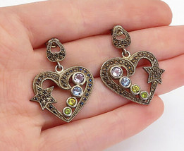 925 Silver - Vintage Multi-Gemstone Open Love Heart Star Drop Earrings -... - $33.76