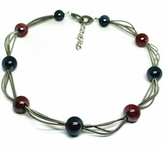 Necklace IN Murano Glass, With Wires And Spheres Red and Blue, Length 50 CM - $113.05