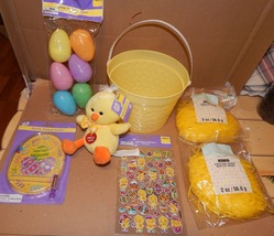 Easter Mix Lot 7 Items Basket Musical PlushChick Game Grass & Eggs Stickers 163M - $12.49