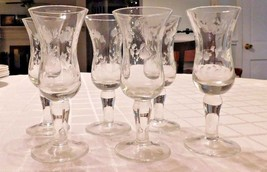 6 cordial glasses stemmed barware etched floral design 4 3/4 inch - $21.78