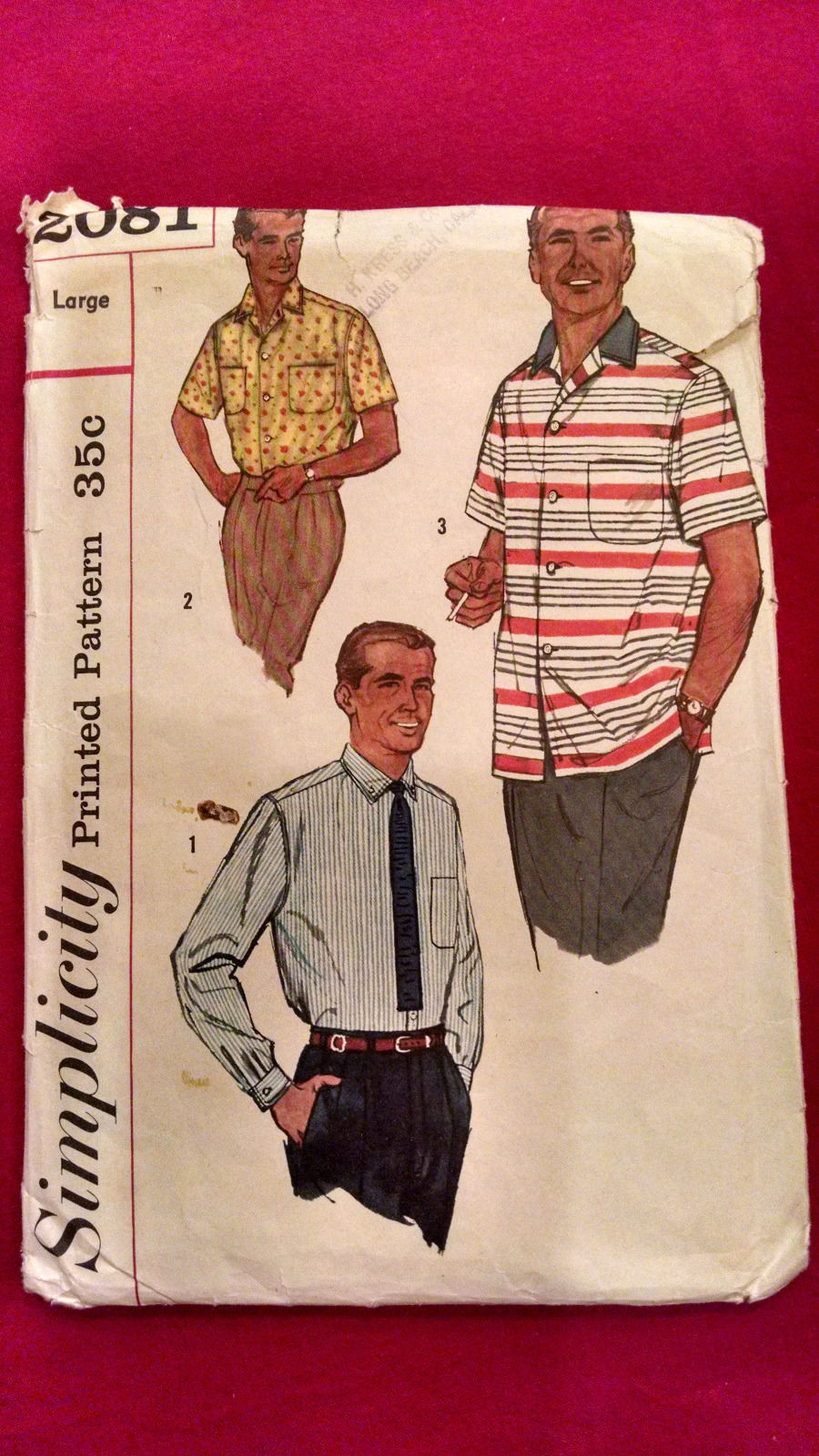 01a52a6724cc2 S l1600. S l1600. Previous. Simplicity 2081 Mens Classic Retro Shirt Sewing  Pattern L Chest 42-44 ...