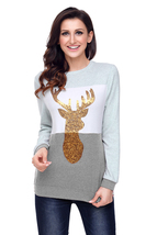 Charcoal White Grey Colorblock Gold Reindeer Top  - $23.85