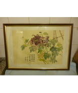 Vintage Signed Chinese Painting  On Silk Floral Bamboo Scene - $157.43