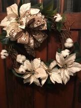 Beautifully Elegant Cream Magnolia Pine Wreath for Door or Wall Decor  - $62.37