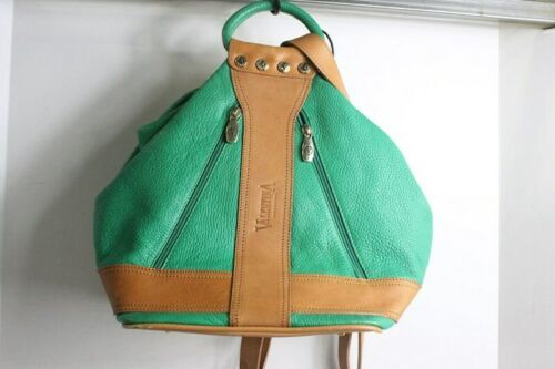 Gorgeous Valentina Green & Brown Leather Backpack Bag Purse Made Italy
