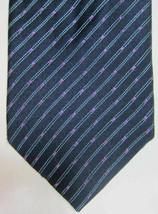NEW $165 Ermenegildo Zegna Blue Stripe With Pink Squares Silk Tie Made in Italy - $89.99