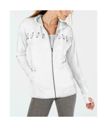 Ideology Women's Lace-up Full Zip Hooded Jacket, White Heather, XS - $22.05