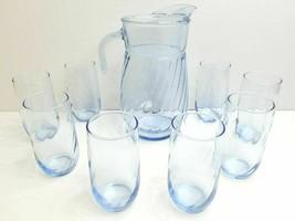 "Anchor Hocking Light Blue Swirl VTG 9 3/4"" Glass Pitcher (8) 5"" Flat Tum... - $59.07"