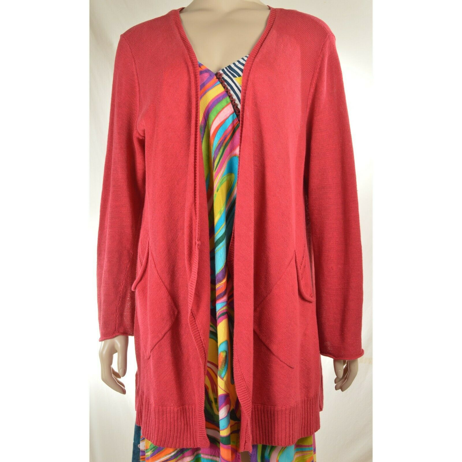 Eileen Fisher sweater cardigan SZ L soft red 100% linen knit pockets soft long s image 12