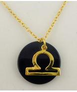 LlBRA Zodiac Horoscope Yellow Gold Vermeil and Black Glass Pendant and N... - $39.50