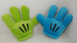 Disney Parks Mickey Mouse plush costume gloves blue green hands - $9.89