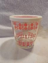 Vintage Tri-Color Pink Polka Dots 1/2 Pint Sour Cream Glass W/Plastic Li... - $12.95