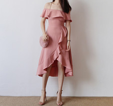 Women Blush Pink Off Shoulder Midi Dress Slit Chiffon Wedding Dress,blush pink image 1