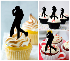 Decorations Wedding,Birthday Cupcake topper,silhouette hip hop dancers :... - $10.00