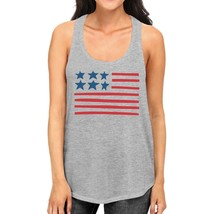 USA Flag Womens Gray Racerback Tanks Cute Independence Day Design - $14.99