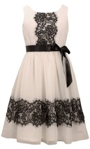 Bonnie Jean Little Girl 2T-6X Ivory Black Lace And Chiffon Fit And Flowy Dress