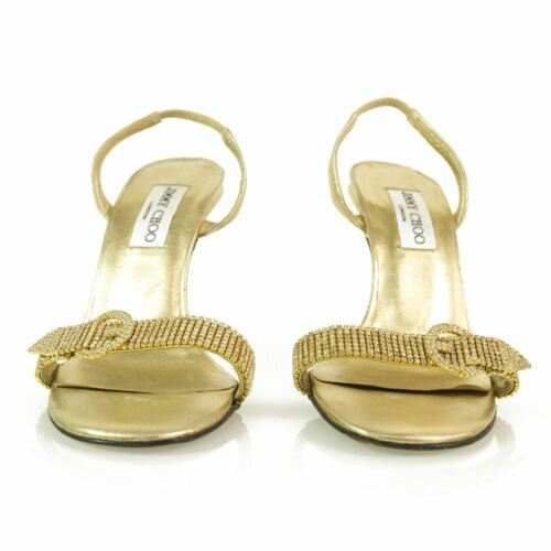 Primary image for Authentic Jimmy Choo Gold w/ Crystals & Buckle Slingback Leather Sandals -Sz37.5