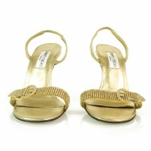 Authentic Jimmy Choo Gold w/ Crystals & Buckle Slingback Leather Sandals... - $257.40