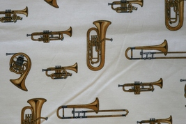 1/2yd Music/Trumpet/French horns instruments on ivory quilt fabric-free shipping
