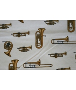 1/2yd Music/Trumpet/French horns instruments on ivory quilt fabric-free ... - $13.99
