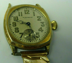 WALTHAM 1925 BLUE HAND CUSHION WATCH OVERBANKED MISSING BACK COVER TRENC... - $115.58