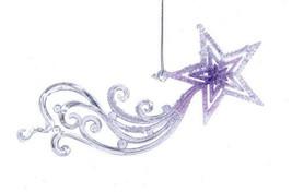 Kurt Adler Frosted Kingdom Acrylic Purple Shooting Star Meteor Xmas Ornament - $6.88