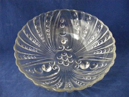 """Vintage Pressed Glass Hobnail & Swirl Footed Bowl 8.5"""" wide x 2 7/8"""" - $9.00"""