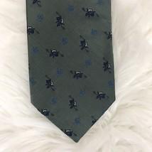 NWT Tommy Hilfiger 100% Silk Tie Green/Blue Pattern - $11.88