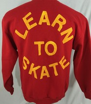 Learn To Skate Red Crew Neck Sweatshirt 50/50 L Large Jerzees Made In USA - $35.26