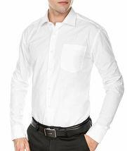 Men's Fashion Fit Long Sleeve Button Down Pocket Pattern White Dress Shirt - M image 3