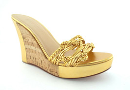 ANNE KLEIN Size 8.5 Gold Woven Wedge Sandals Shoes 8 1/2 - $55.00