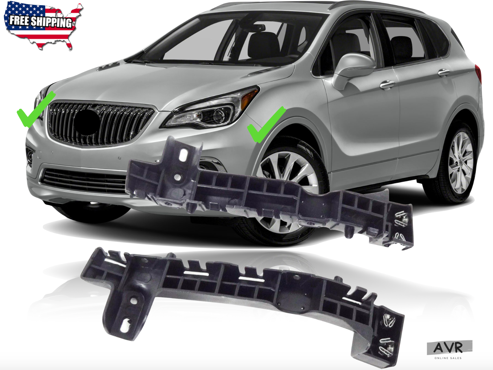 Fit For 2016 2017 2018 Buick Envision Front Bumper Upper Bracket Support Pair - $32.71