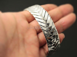 Mens Sterling Silver Bracelet Woven Braided Bangle Cuff Handcrafted Hip Hop b23 image 4