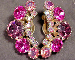 Weiss Vintage Clip On Earrings Up the Ear Style Pink Purple Aurora Borealis Nice