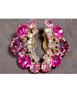 Weiss Vintage Clip On Earrings Up the Ear Style Pink Purple Aurora Borea... - $34.65