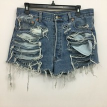 Levis Cutoff Jean Shorts Heavily Distressed Button Fly Medium Wash 33 Waist - $29.99