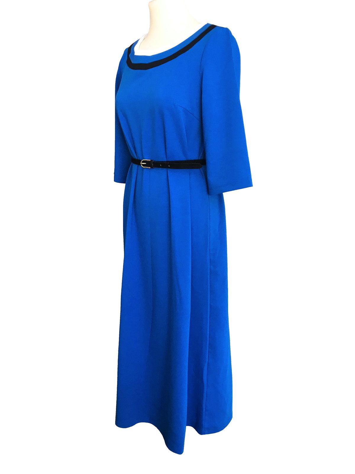80s Retro Styled Cobalt Blue Nautical Cotton Knit Flare 3/4 Sleeve Trapeze Dress