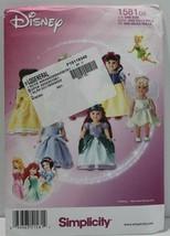 "Simplicity Sewing Pattern 1581 Doll Costumes 18"" Disney Princess - $9.27"
