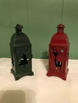 2 Metal Lantern Tea Light Candle Holders Christmas Fall Winter Holiday D... - $15.84