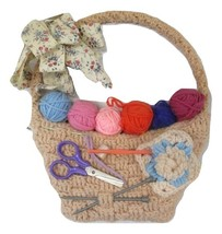 Wall Hanging Crochet And  Knitting Lover Needlework Vintage Basket  - $39.00