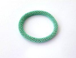 Mint Green Beaded Crochet Bracelet Bangle Wristband for Women  - $8.00+