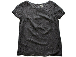J Crew Black Lined Lace Pullover Top - H5526 - Black - Size 0 - $27.72